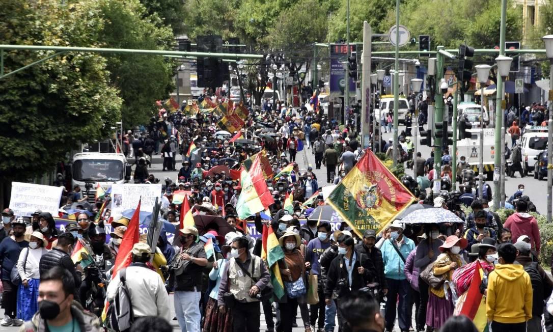 Manifestação contra a Lei de Legitimização de Lucros Ilícitos, que o governo quer aprovar, em La Paz Foto: AIZAR RALDES / AFP