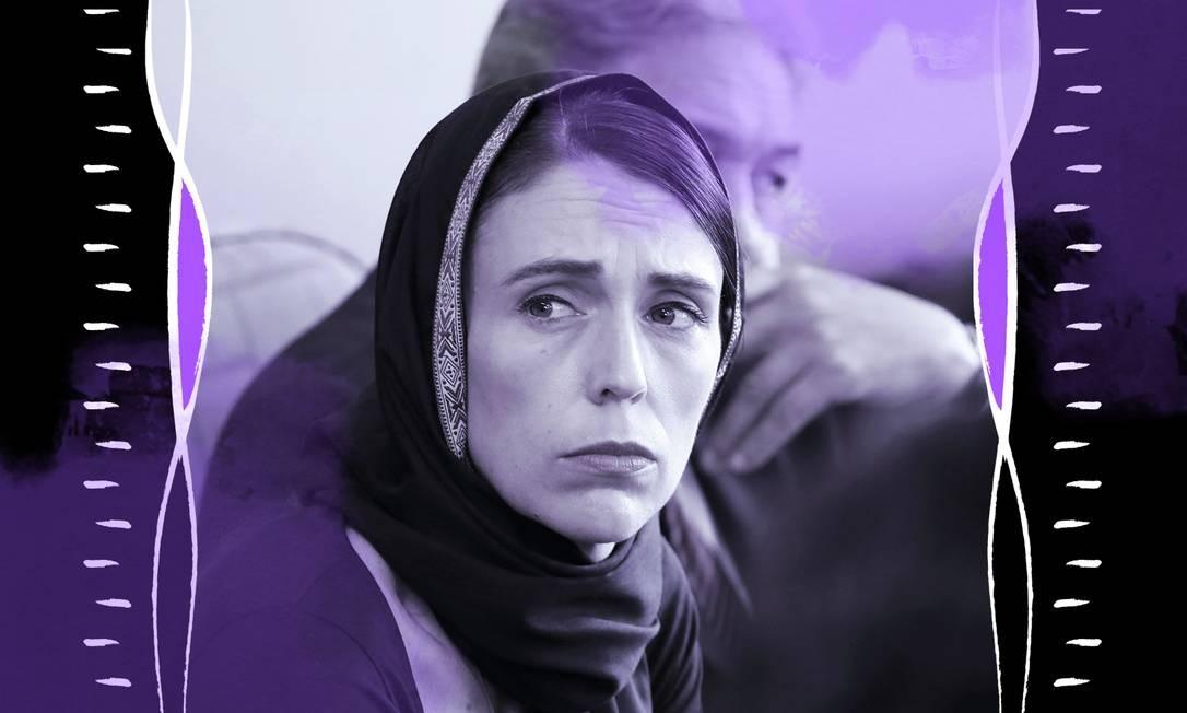 A primeira-ministra da Nova Zelândia, Jacinda Ardern, de 38 anos Foto: Arte de Lari Arantes sobre foto da Reuters