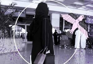 Mulher saudita caminha pelo aeroporto de Jidá, na Arábia Saudita. Foto: Arte sobre foto de AFP