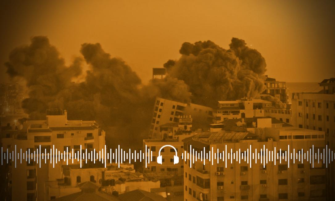 Nuvem de fumaça sobre em local atingido por ataque aéreo israelense em Gaza Foto: MOHAMMED ABED / AFP