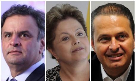 Aécio Neves, Dilma Rousseff e Eduardo Campos: 'faça o que eu digo, não faça o que eu faço' Foto: Montagem com fotos de arquivo