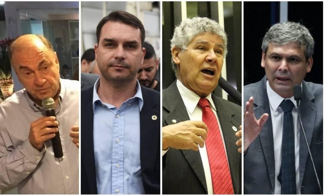 Os candidatos do Rio ao Senado Cesar Maia (DEM), Flavio Bolsonaro (PSL), Chico Alencar (PSOL) e Lindbergh Farias (PT) Foto: Arquivo O GLOBO