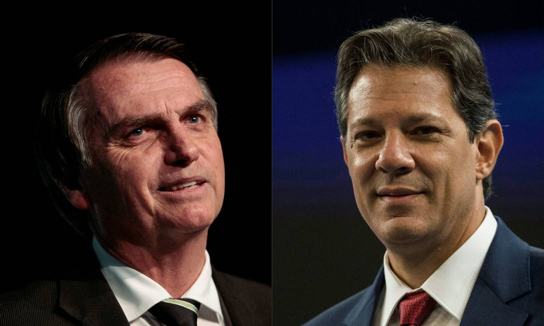 Os candidatos à Presidência Jair Bolsonaro (PSL) e Fernando Haddad (PT) Foto: AFP