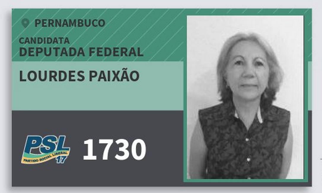 Santinho da campanha de Maria de Lourdes Paixão, do PSL Foto: Reprodução
