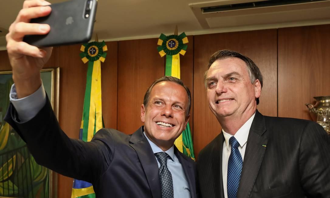 João Doria e o presidente Jair Bolsonaro Foto: Marcos Correa / O Globo