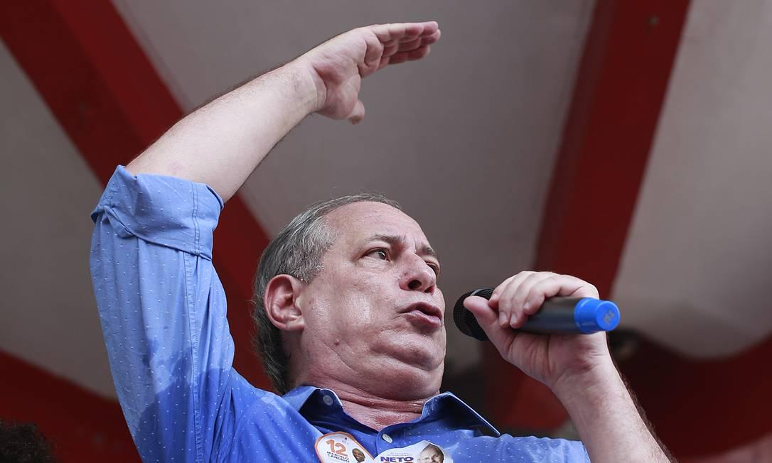 Ciro Gomes, durante evento da campanha à Presidência em 2018 Foto: Edilson Dantas / Agência O Globo