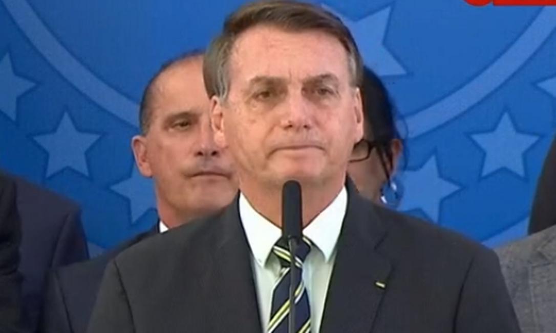 O presidente Jair Bolsonaro durante pronunciamento Foto: Reprodução