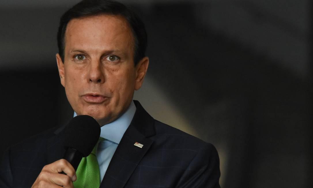 O governador João Doria reage mais uma vez à crítica de Bolsonaro a governadores e prefeitos Foto: Fotoarena / Agência O Globo