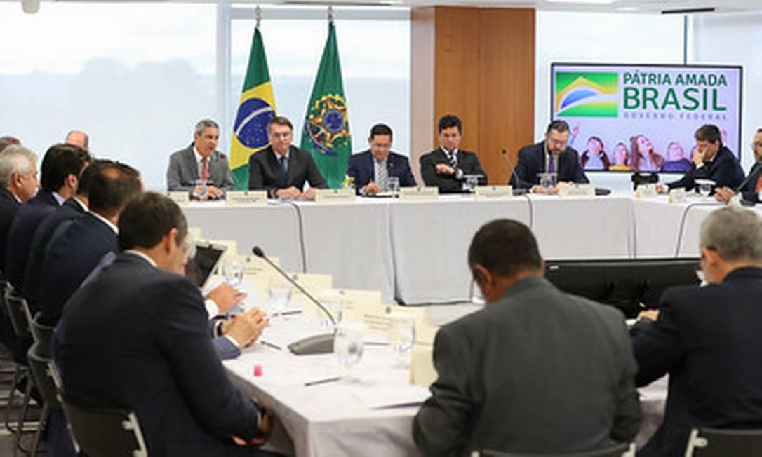 Reunião realizada entre Bolsonaro e ministros dia 22 de abril, citada por Sergio Moro como prova de interferência do presidente na PF Foto: Marcos Correa / Divulgação