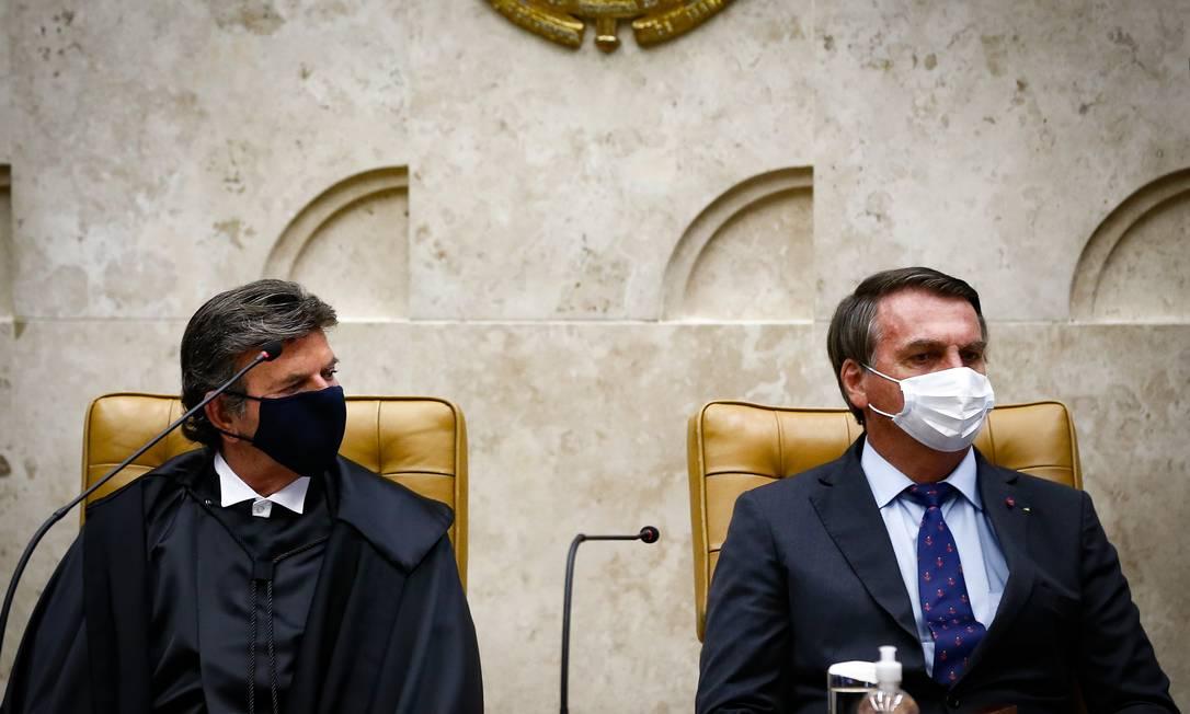 Luiz Fux toma posse como presidente de STF, ao lado do presidente Jair Bolsonaro Foto: Pablo Jacob / Agência O Globo