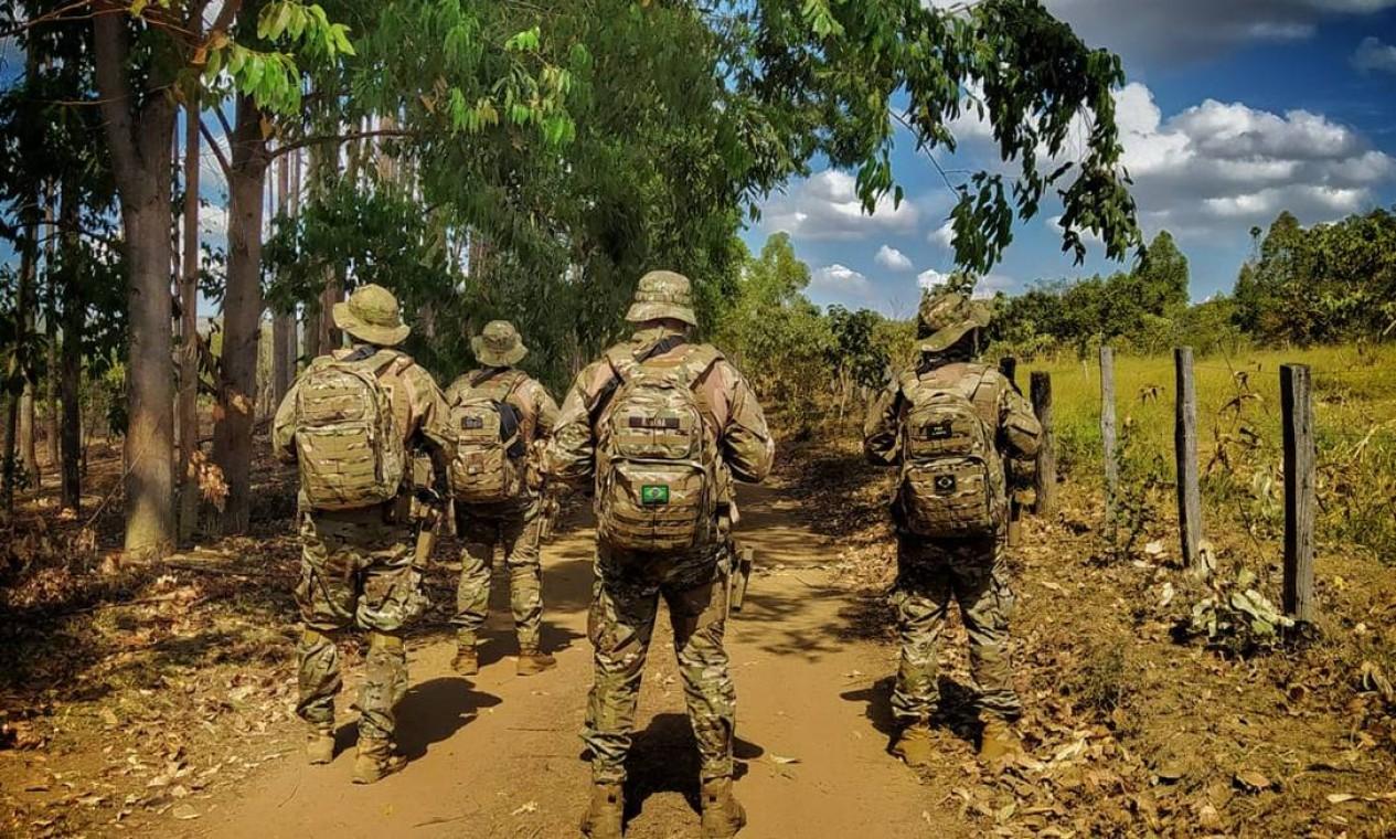 Força-tarefa conta com agentes da Polícia Militar (PMDF), da Polícia Rodoviária Federal (PRF), da Polícia Federal (PF) e da Polícia Civil do Distrito Federal (PCDF) Foto: Secretaria de Segurança Pública de Goiás / Reprodução