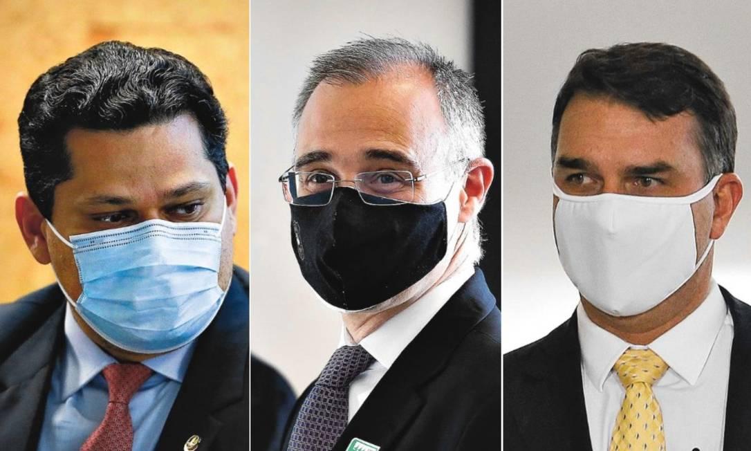 Davi Alcolumbre, André Mendonça e Flávio Bolsonaro Foto: Agência O Globo