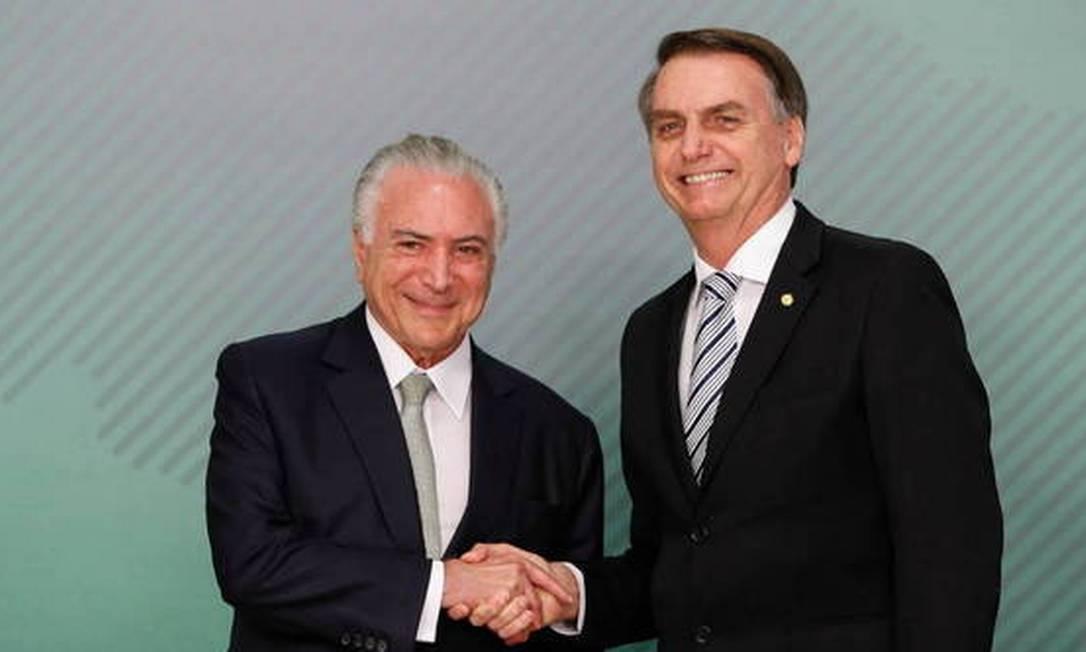 Bolsonaro e Michel Temer em encontro Foto: ALAN SANTOS/PR