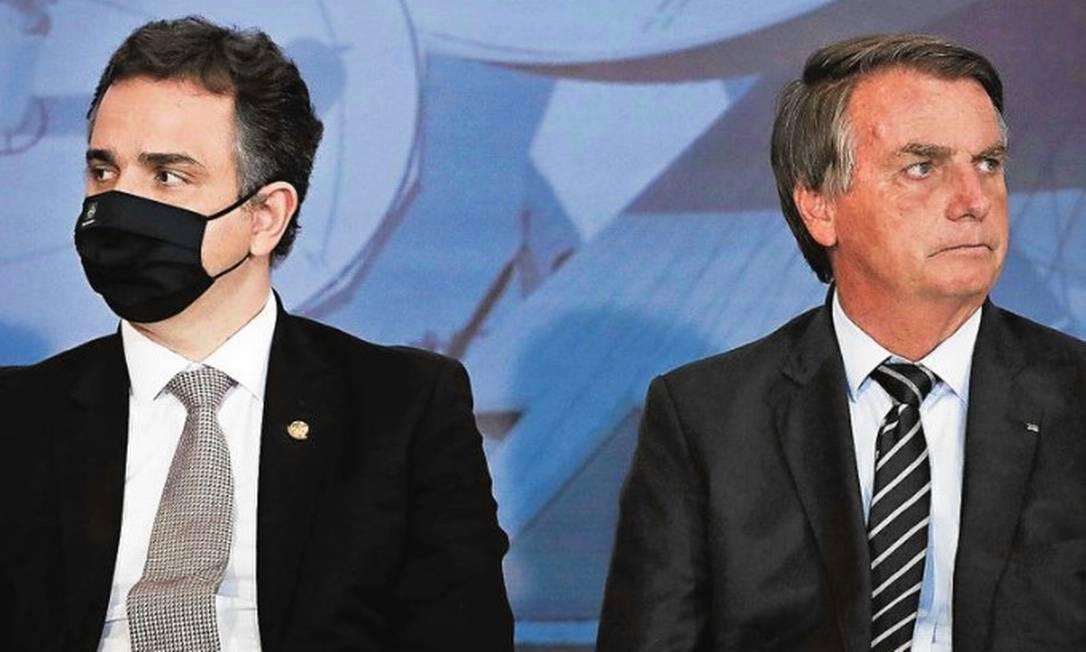 Rodrigo Pacheco e Jair Bolsonaro Foto: PAblo JAcob / Agencia O Globo