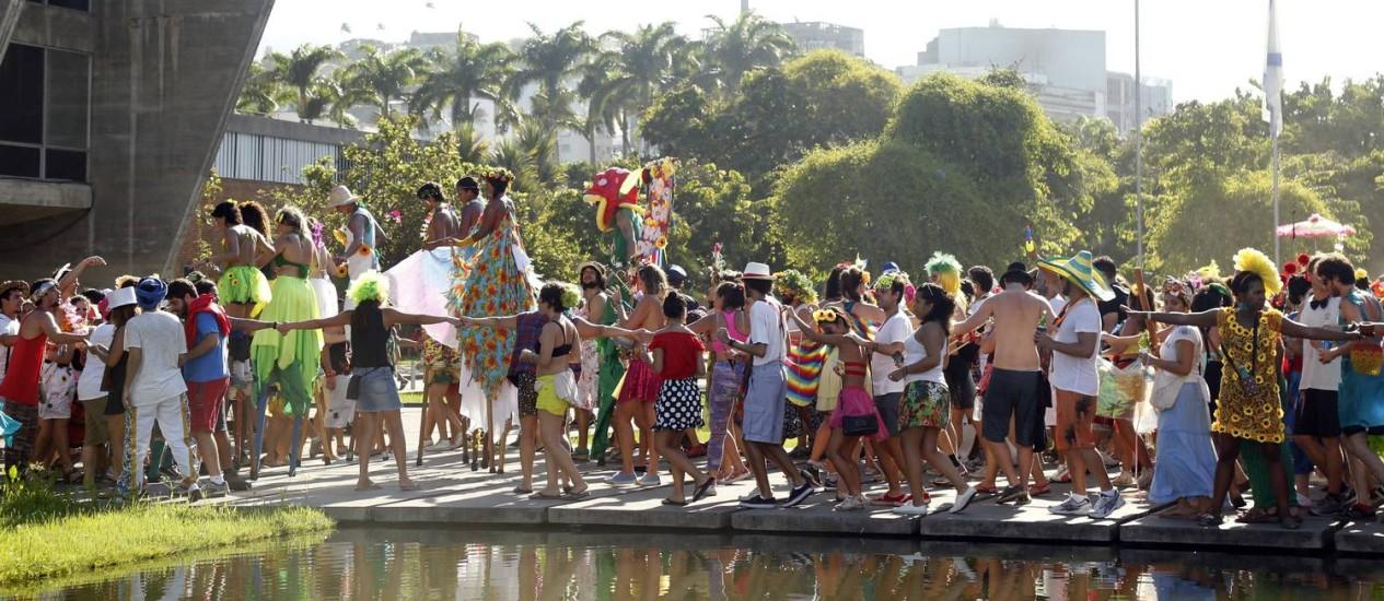 O cortejo do 'Vem cá, minha flor' levou a folia até os jardins do Museu de Arte Moderna (MAM) Foto: Ana Branco / Agência O Globo