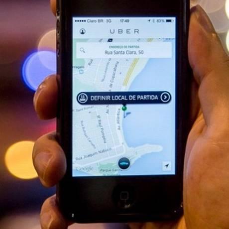 A tela do aplicativo Uber Foto: Leo Martins / Agência O Globo