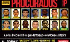 Quatorze suspeitos estão foragidos Foto: Portal dos Procurados / Divulgação
