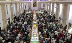 Tapetes de sal na Igreja São Francisco Xavier, na Tijuca Foto: Márcia Foletto / Agência O Globo