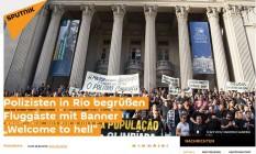 Jornal russo Sputnik destaca protesto de policiais do Rio Foto: Reprodução