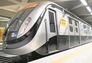 Composição da Linha 4 do metrô Foto: Márcia Foletto / Agência O Globo