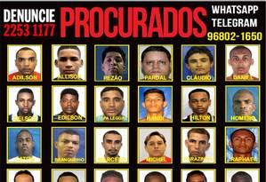 Após operação, criminosos são considerados foragidos Foto: Divulgação / Portal dos Procurados