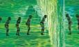 Cena do início da cerimônia de abertura dos Jogos Olímpicos Rio-2016, realizada nesta sexta-feira no Estádio do Maracanã: dançarinos de Parintins, no Amazonas, representam os primeiros habitantes do Brasil em meio à natureza