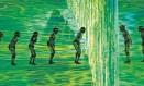 Cena do início da cerimônia de abertura dos Jogos Olímpicos Rio-2016, realizada nesta sexta-feira no Estádio do Maracanã: dançarinos de Parintins, no Amazonas, representam os primeiros habitantes do Brasil em meio à natureza Foto: Daniel Marenco