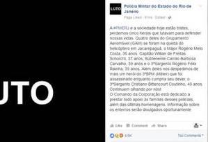 PMERJ presta homenagem aos agentes mortos Foto: Reprodução