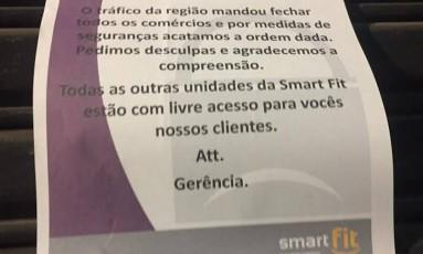 Academia coloca aviso na porta para informar sobre fechamento Foto: Divulgação