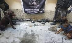 Armas e drogas foram apreendidas durante a operação do BAC Foto: Divulgação / Polícia Militar