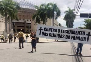 Protesto de funcionários de uma clínica da família em Del Castilho, em novembro do ano passado Foto: Divulgação