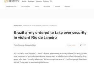 Agência Reuters publicou reportagem sobre intervenção federal no Rio Foto: Reprodução