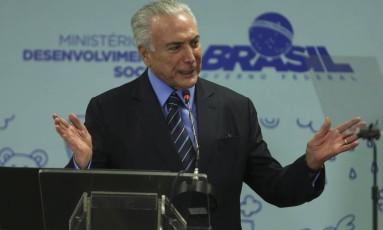 O presidente Michel Temer durantre solenidade em Brasília Foto: Ailton de Freitas / Agência O Globo
