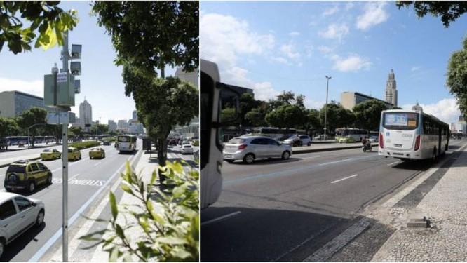 Antes e depois na Avenida Presidente Vargas, na altura da Rua de Santana: o pardal eletrônico que ficava em um poste do canteiro desapareceu Foto: Marcelo Piu (13/03/2012) e Guilherme Pinto (24/04/2018)