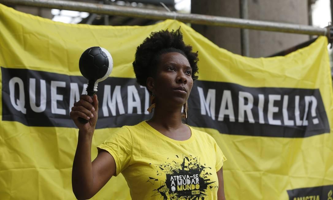 O pai de Marielle, Antônio Francisco da Silva, também participou da manifestação Pablo Jacob / O Globo