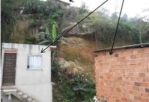 O laudo incluifotos e descreve fatores de risco do localcomo a presença de vegetação nas fendas do barranco Foto: Reprodução