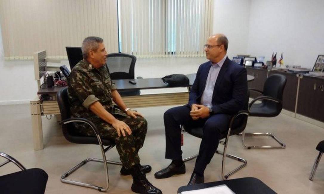 Reunião de Wilson Witzel com general Braga Netto Foto: Divulgação CML