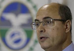 Governador Wilson Witzel, durante coletiva Foto: Marcelo Theobald / Agência O Globo