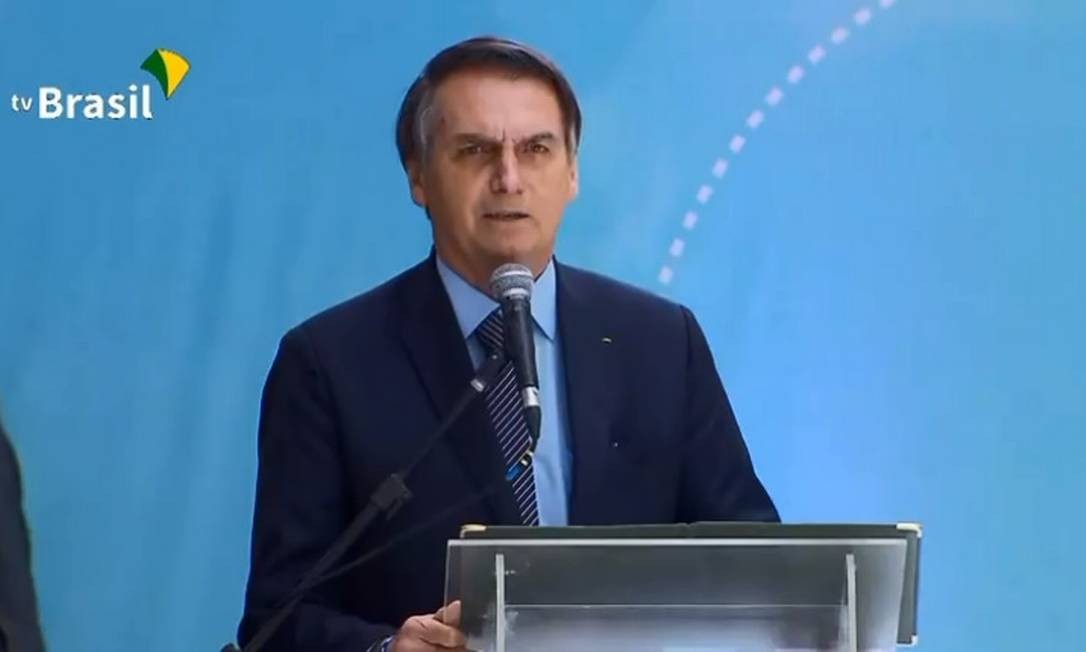 O presidente Jair Bolsonaro participa da inauguração de aeroporto em Macapá Foto: Reprodução / TV Brasil