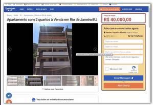 Anúncio publicado na internet: apartamento em prédio que ruiu Foto: Reprodução