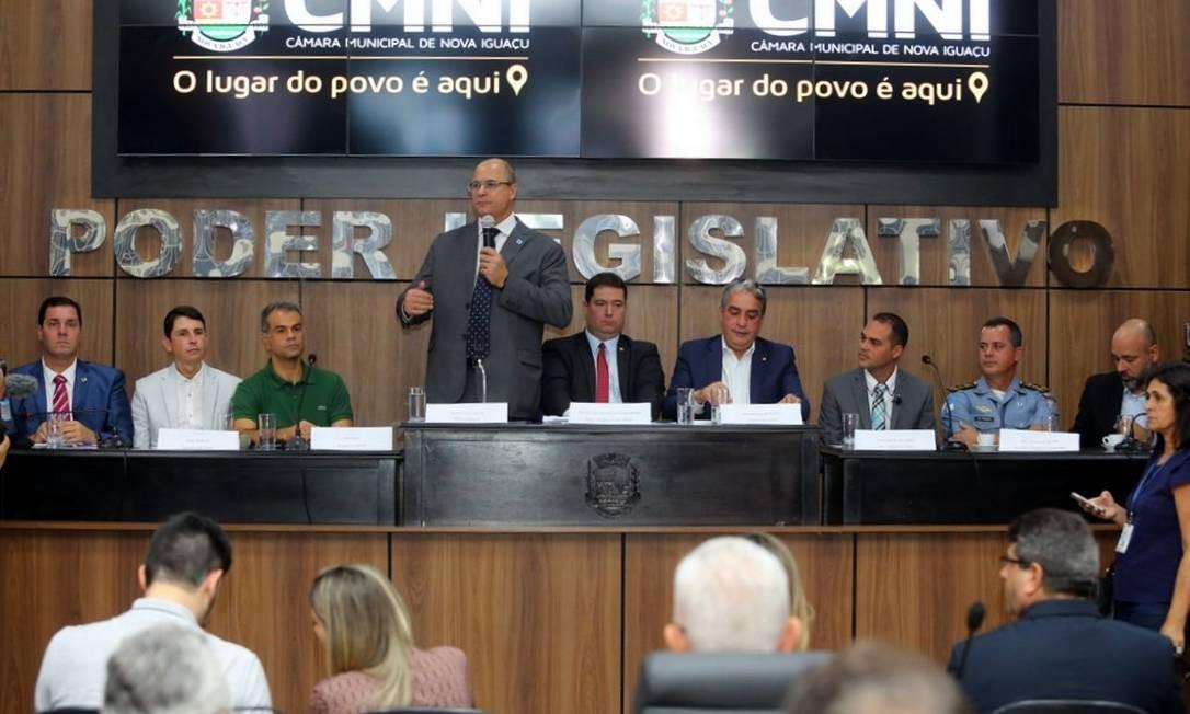 Anúncio da expansão do Segurança Presente foi feito durante audiência pública da Frente Parlamentar para a Baixada Fluminense em Nova Iguaçu Foto: Divulgação/Governo do Estado