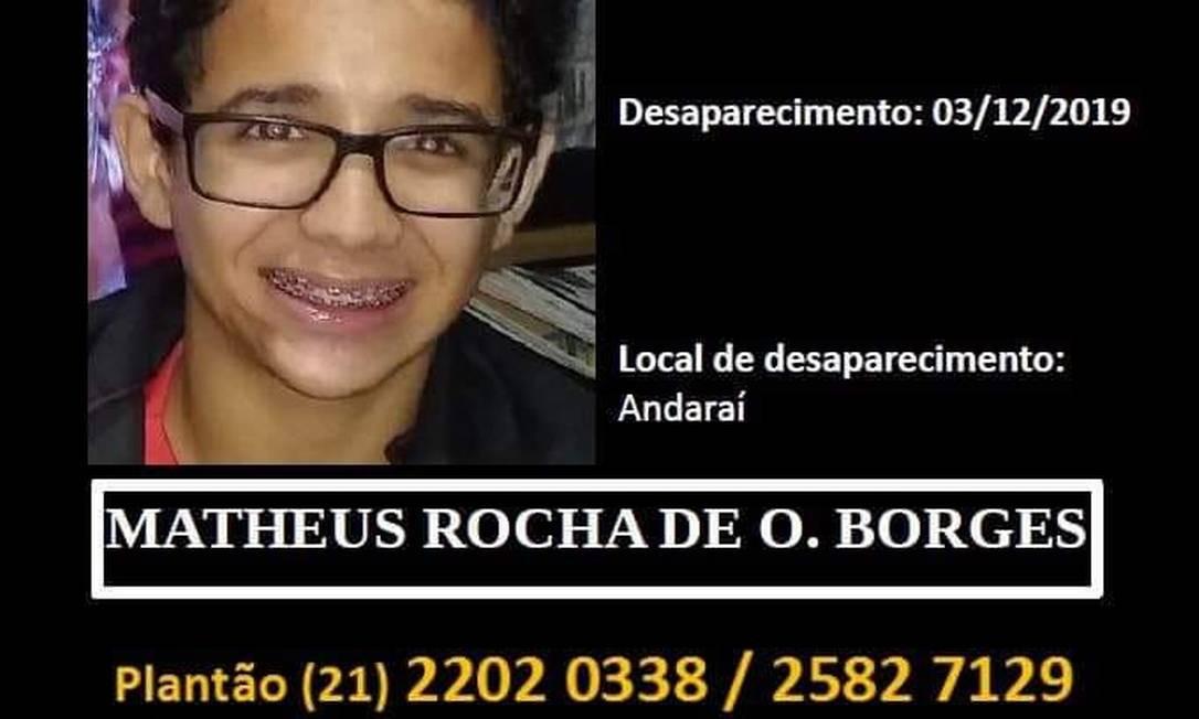 Matheus Rocha Borges não é visto desde 3 de dezembro Foto: Reprodução