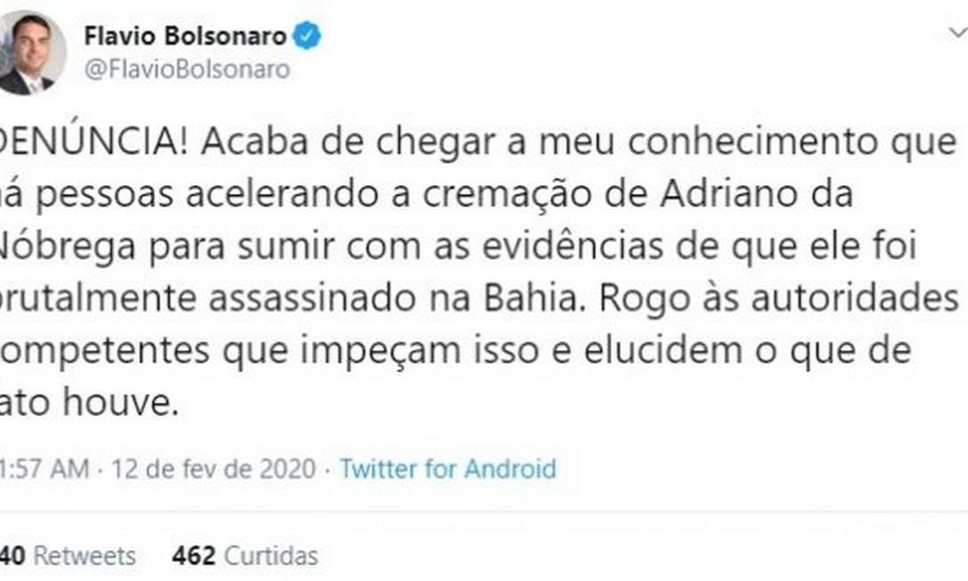 Flavio Boslonaro fez publicação sobre morte de Adriano Foto: Divulgação/Twitter