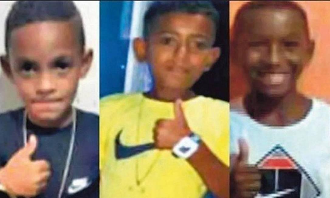Lucas Matheus, Alexandre e Fernando Henrique estão desaparecidos desde 27 de dezembro de 2020 Foto: Reprodução