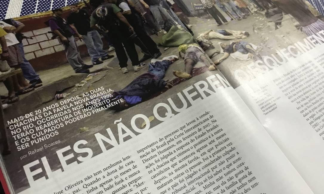Reportagem sobre chacinas de Nova Brasília Foto: Reprodução