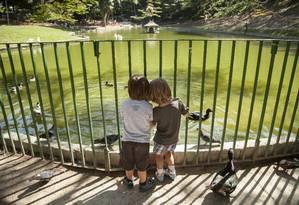 Brinquedos de madeira e areia nova para a área das crianças. O lago principal também ganhará ponte de ferro Foto: Hermes de Paula / Agência O Globo