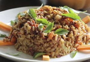 Do Horto. O arroz, ingrediente atrelado à fartura, com carne-seca e abóbora sai a R$ 48 Foto: Divulgação/Filico