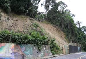 Área de risco. O cenário da encosta na Estrada das Furnas, no Alto da Boa Vista, chama a atenção Foto: Pedro Teixeira / Agência O Globo