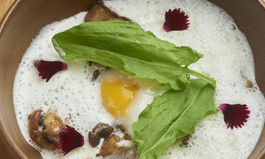 Fricassé de Cogumelos com queijo, ovo caipira e azedinha Foto: Selmy Yassuda / Divulgação