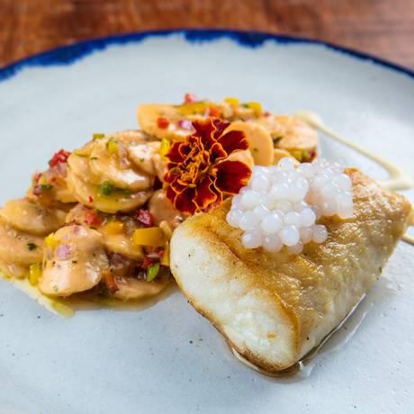 Porto Frescato: peixe do Dia Grelhado com sagu de cachaça e ceviche de banana da terra Foto: Divulgação / Tomas Rangel